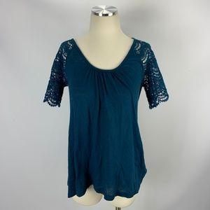 Anthropologie Eloise Blue Blouse XS Crochet